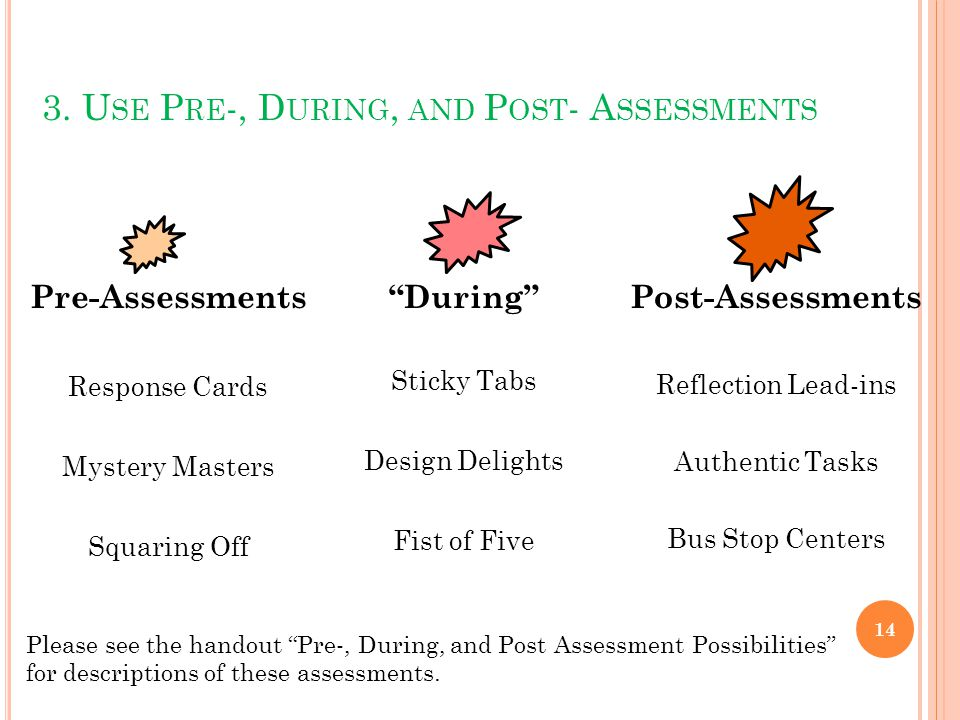 "3. U SE P RE -, D URING, AND P OST - A SSESSMENTS 14 Pre-Assessments Response Cards Mystery Masters Squaring Off ""During"" Sticky Tabs Design Delights"