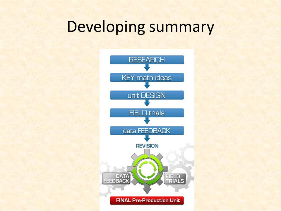 Developing summary