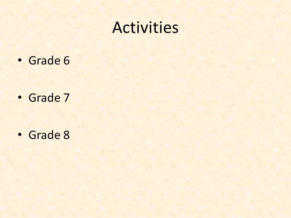 Activities Grade 6 Grade 7 Grade 8