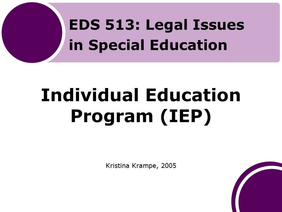 Introduction to the Presentation Prior to beginning this presentation, you should have read Chapter 11 of Yell's (2006) The Law and Special Education, 2nd Edition Upon completion of this session, you should be able to discuss the IEP requirements under the IDEA