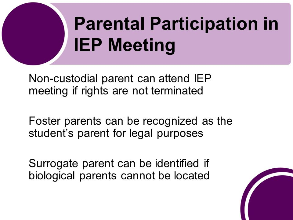 Parental Participation in IEP Meeting Non-custodial parent can attend IEP meeting if rights are not terminated Foster parents can be recognized as the student's parent for legal purposes Surrogate parent can be identified if biological parents cannot be located