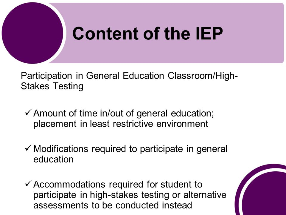 Content of the IEP Participation in General Education Classroom/High- Stakes Testing Amount of time in/out of general education; placement in least restrictive environment Modifications required to participate in general education Accommodations required for student to participate in high-stakes testing or alternative assessments to be conducted instead