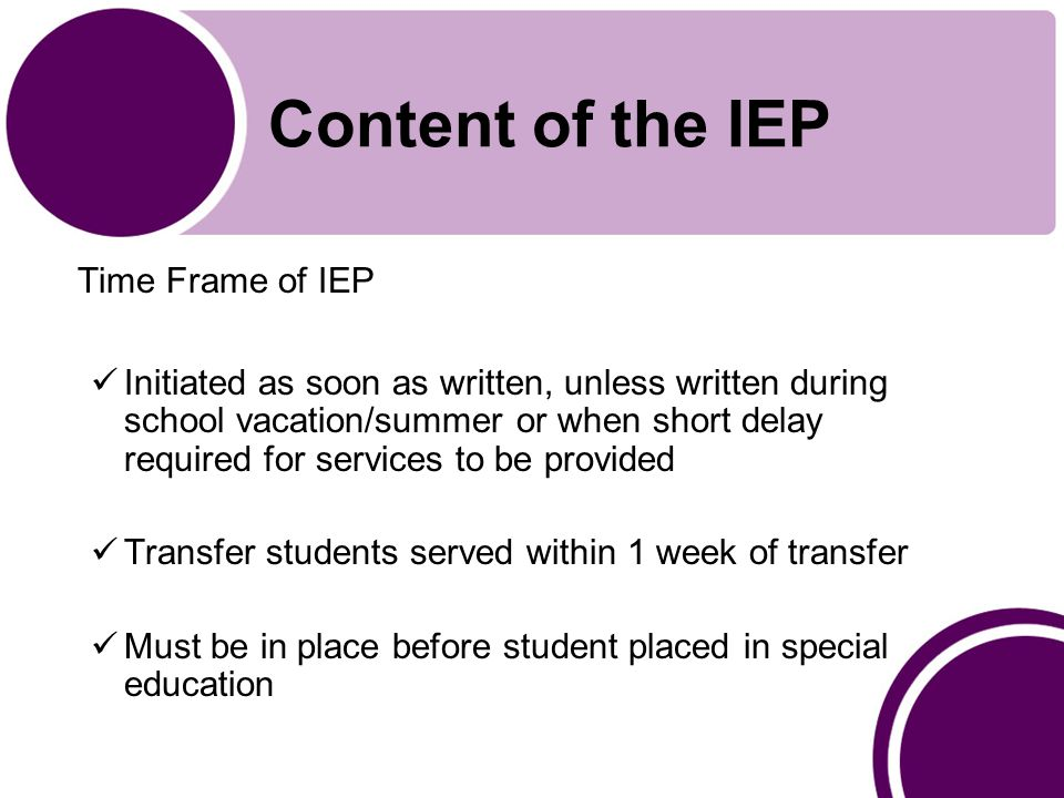 Content of the IEP Time Frame of IEP Initiated as soon as written, unless written during school vacation/summer or when short delay required for services to be provided Transfer students served within 1 week of transfer Must be in place before student placed in special education