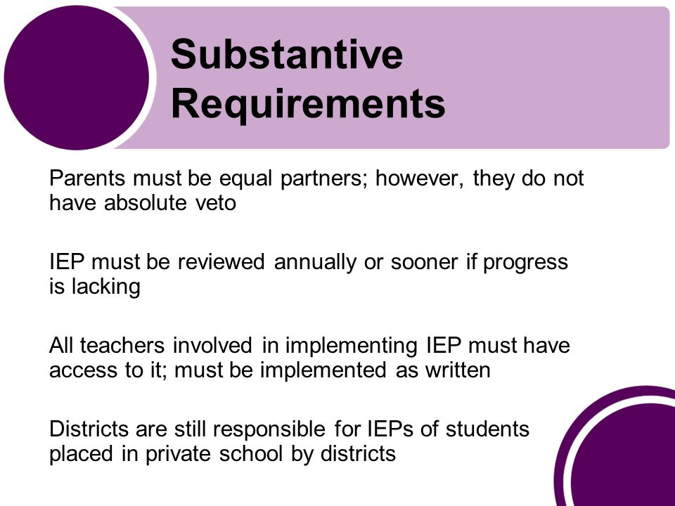 Substantive Requirements Parents must be equal partners; however, they do not have absolute veto IEP must be reviewed annually or sooner if progress is lacking All teachers involved in implementing IEP must have access to it; must be implemented as written Districts are still responsible for IEPs of students placed in private school by districts