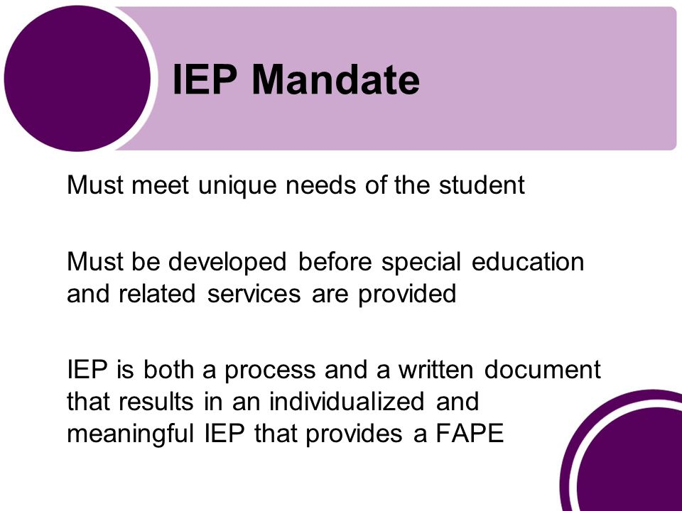 IEP Mandate Must meet unique needs of the student Must be developed before special education and related services are provided IEP is both a process and a written document that results in an individualized and meaningful IEP that provides a FAPE