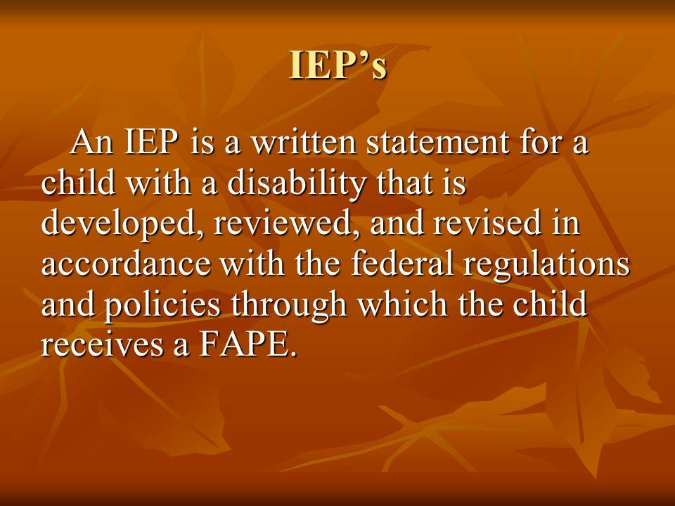 I.E.P.'s – Individualized Education Programs Jolee Harney/Jenny Kurzer Marsha Holleman/Nancy Simmons