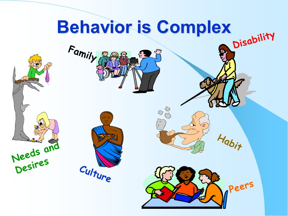 Behavior is Complex Culture Needs and Desires Disability Habit Family Peers