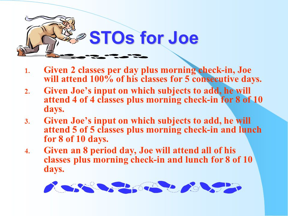 STOs for Joe 1.