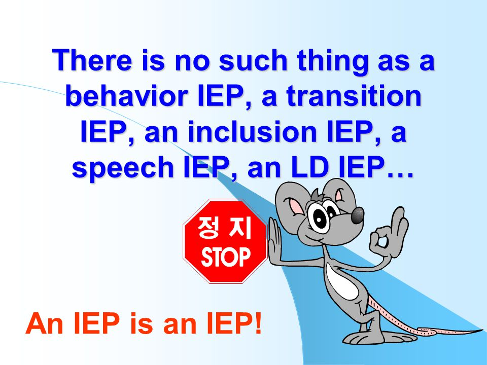 There is no such thing as a behavior IEP, a transition IEP, an inclusion IEP, a speech IEP, an LD IEP… An IEP is an IEP!