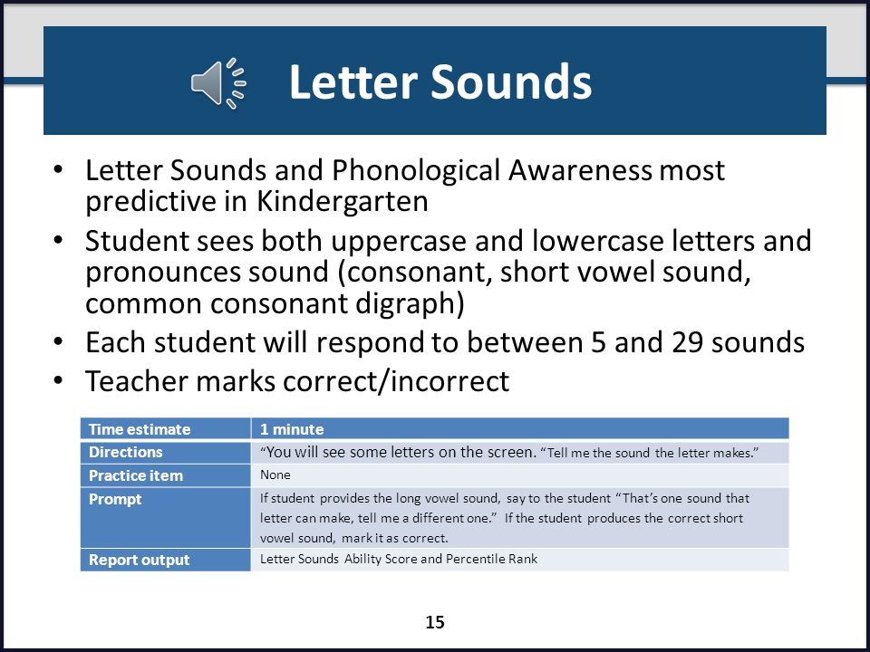 Alphabetics Section 1 KindergartenFirst GradeSecond Grade FallWinterSpringFallWinterSpringFallWinterSpring Letter Sounds Phonological Awareness Word Reading Spelling 14