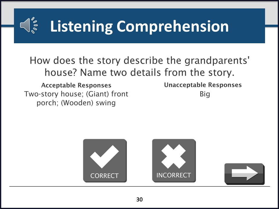 Listening Comprehension Passages are informational and narrative Five comprehension questions per passage (three explicit and two inferential) Time estimate5 minutes Directions (Listening Comprehension) Listen while I read __(title)__.