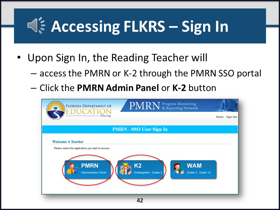 Accessing FLKRS - Sign In Non-public schools access via https://pmrn.fldoe.orghttps://pmrn.fldoe.org To access the PMRN via SSO – SSO Portal Home Page http://www.fldoe.org/SSO http://www.fldoe.org/SSO – Click Log In button 41