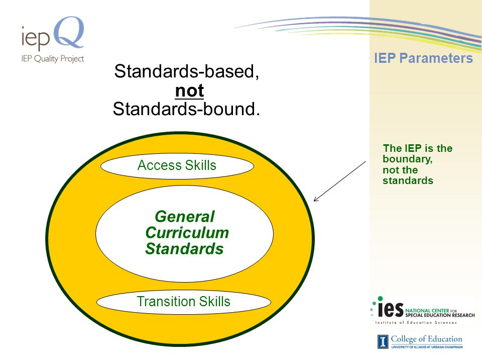 General Curriculum Standards Transition Skills Access Skills Standards-based, not Standards-bound.