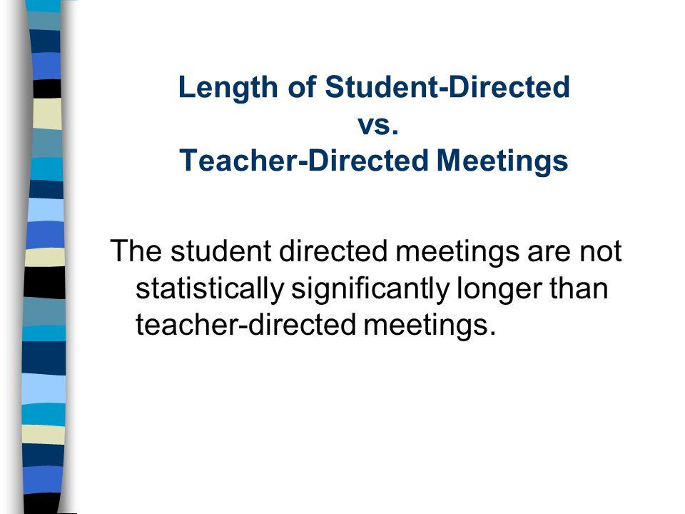Length of Student-Directed vs. Teacher-Directed Meetings The student directed meetings are not statistically significantly longer than teacher-directe