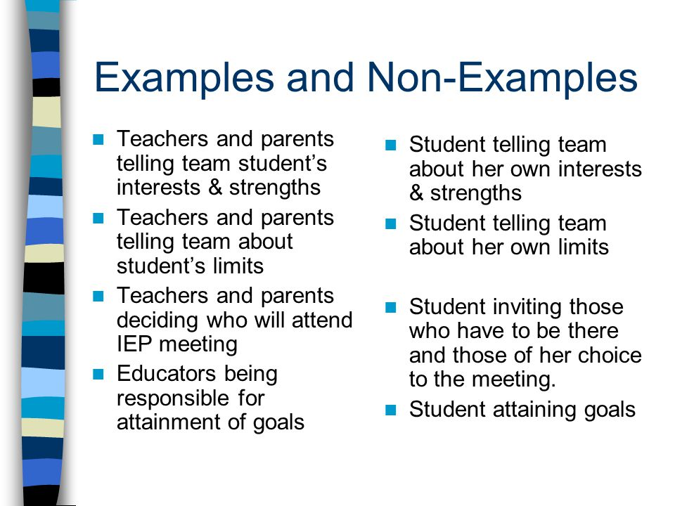 Examples and Non-Examples Teachers and parents telling team student's interests & strengths Teachers and parents telling team about student's limits Teachers and parents deciding who will attend IEP meeting Educators being responsible for attainment of goals Student telling team about her own interests & strengths Student telling team about her own limits Student inviting those who have to be there and those of her choice to the meeting.