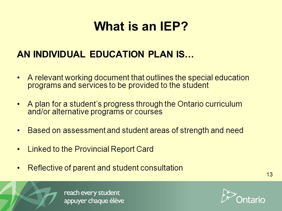13 What is an IEP.