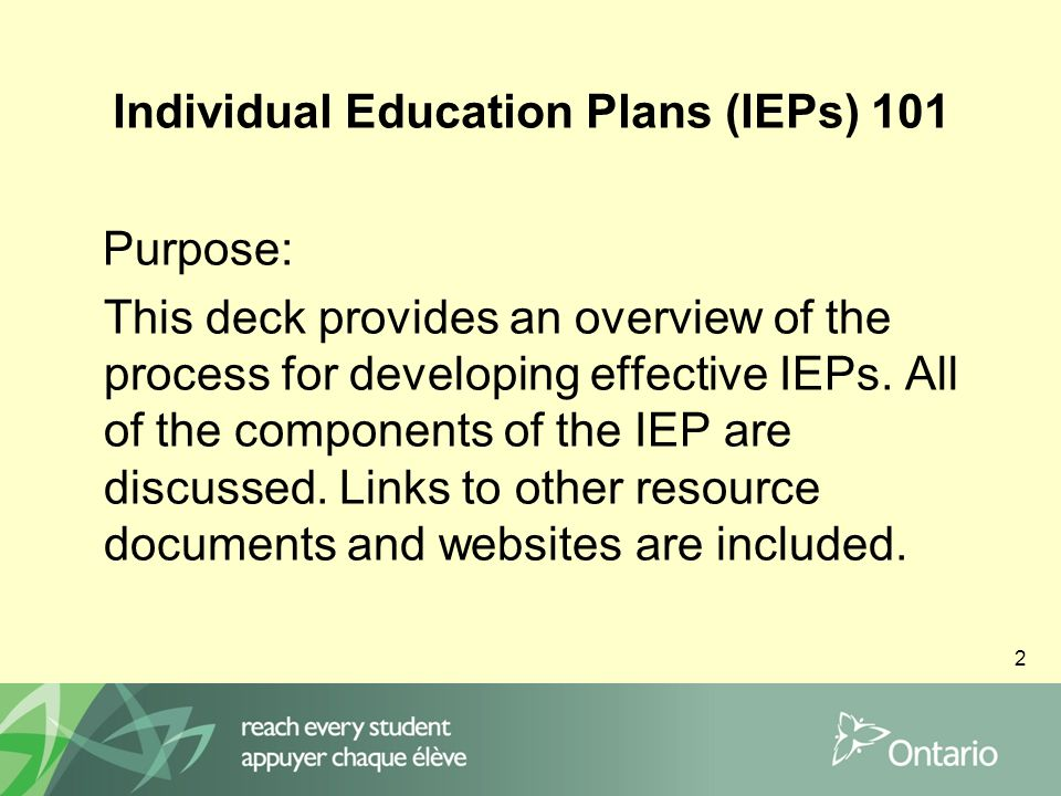 3 IEP 101 Presentation Introduction of the IEP Special Education Overview What is an IEP.