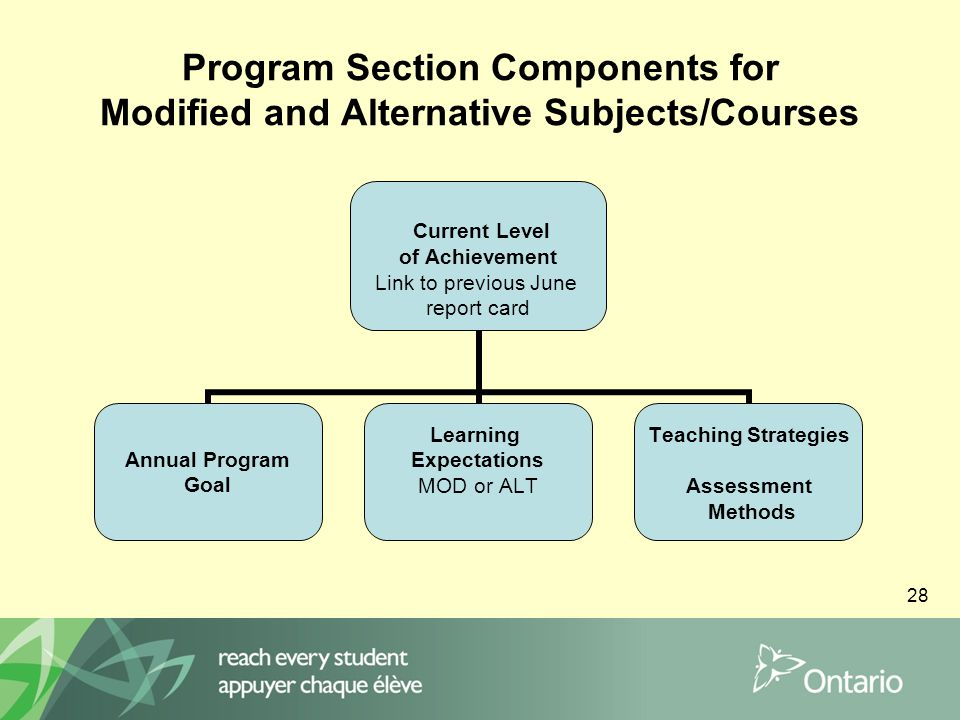28 Program Section Components for Modified and Alternative Subjects/Courses Current Level of Achievement Link to previous June report card Annual Program Goal Learning Expectations MOD or ALT Teaching Strategies Assessment Methods