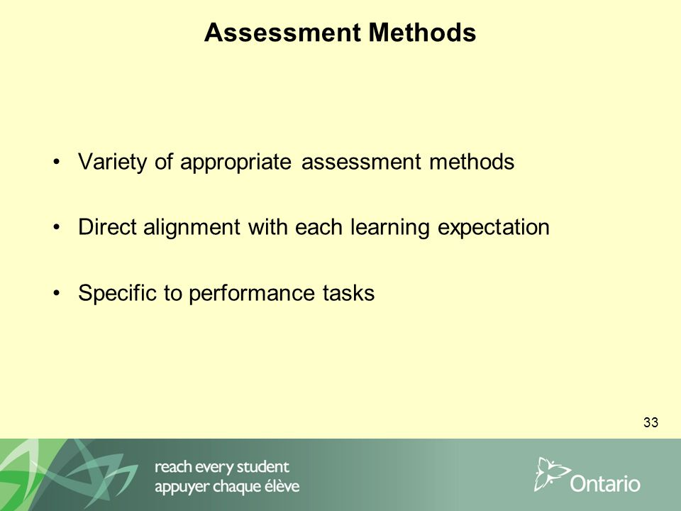 33 Assessment Methods Variety of appropriate assessment methods Direct alignment with each learning expectation Specific to performance tasks