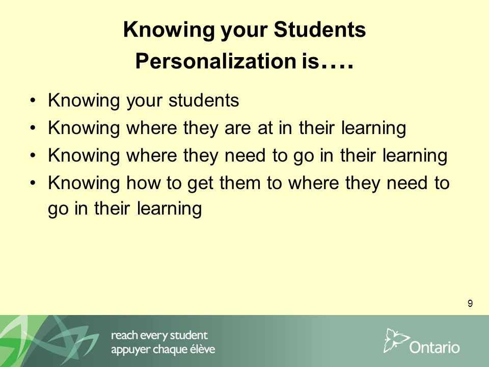 9 Knowing your Students Personalization is ….