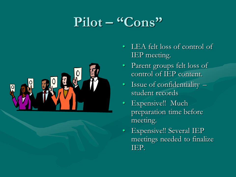 Pilot – Pros Upfront communication kept arguing sides apart – little interaction until meeting.Upfront communication kept arguing sides apart – little interaction until meeting.