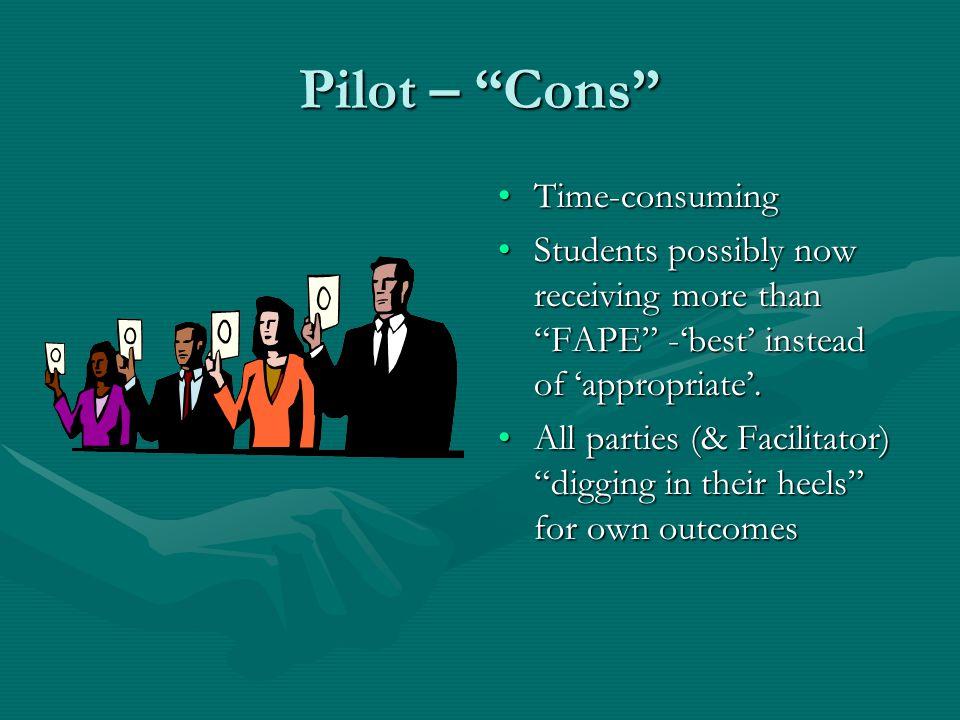 Pilot – Cons LEA felt loss of control of IEP meeting.
