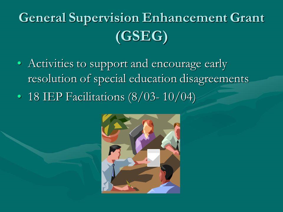 IEP Facilitation – Pilot ODR was a recipient of the OSEP General Supervision Enhancement Grant (GSEG).ODR was a recipient of the OSEP General Supervis