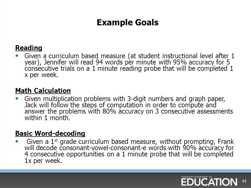 60 Goals Are:Goals Are Not: Specific, measurable skillsGeneral concepts and ideas Individualized to the student's needs Grade level Related to an individual student's deficits Standards Directly related to that individual student's PLEP Related to core instruction tutoring