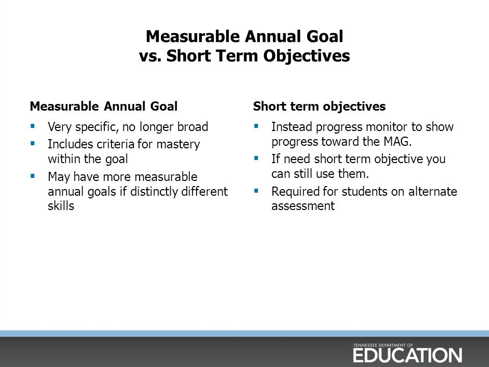 Questions to Consider: Measurable Annual Goals  When you review Measurable Annual Goals, ask: Are they measurable.