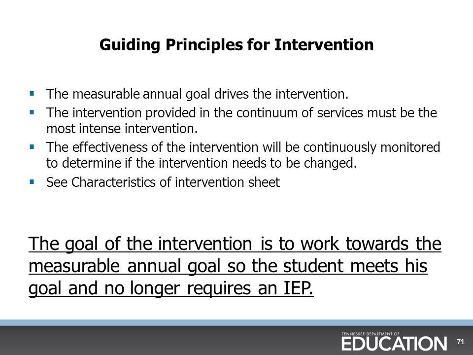Questions to Consider for Intervention  Are the interventions related to the student's areas of deficit.