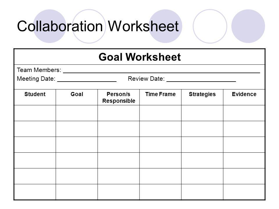 Collaboration Worksheet Goal Worksheet Team Members: _________________________________________________________ Meeting Date: _________________ Review Date: ____________________ StudentGoalPerson/s Responsible Time FrameStrategiesEvidence