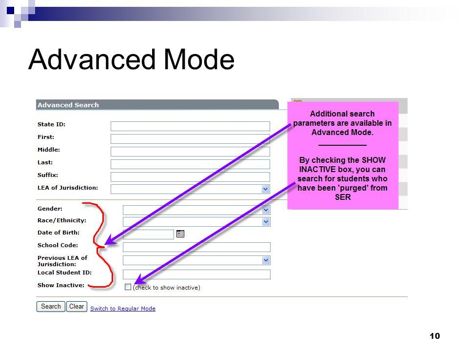 10 Advanced Mode
