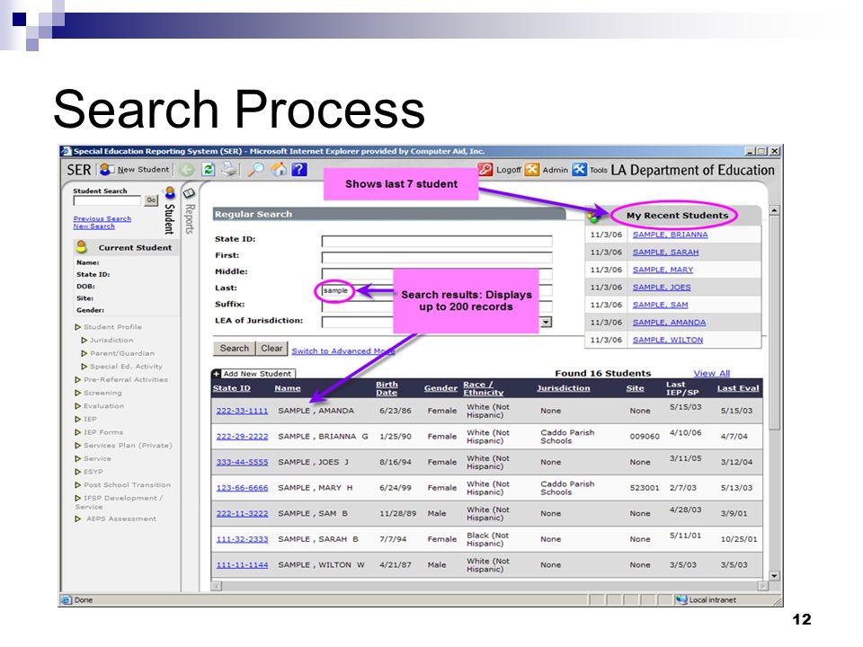 12 Search Process