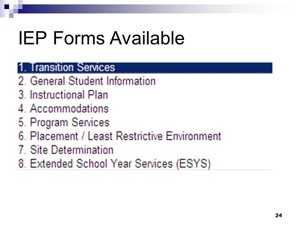 24 IEP Forms Available