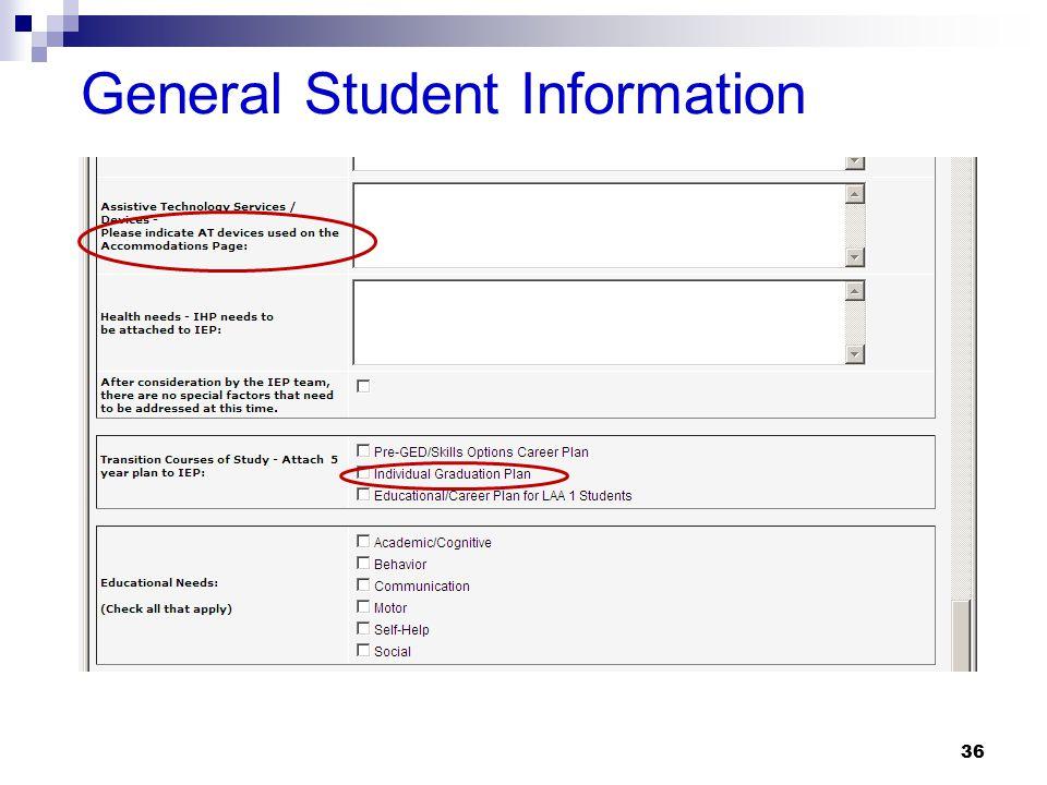 36 General Student Information