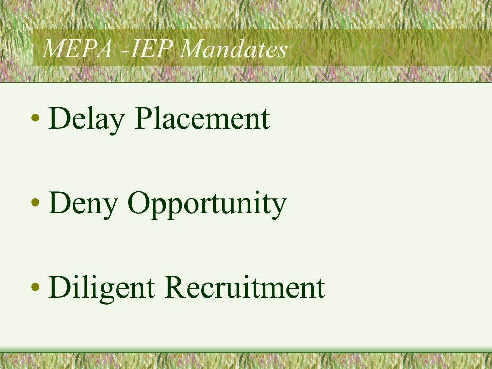 MEPA -IEP Mandates Delay Placement Deny Opportunity Diligent Recruitment