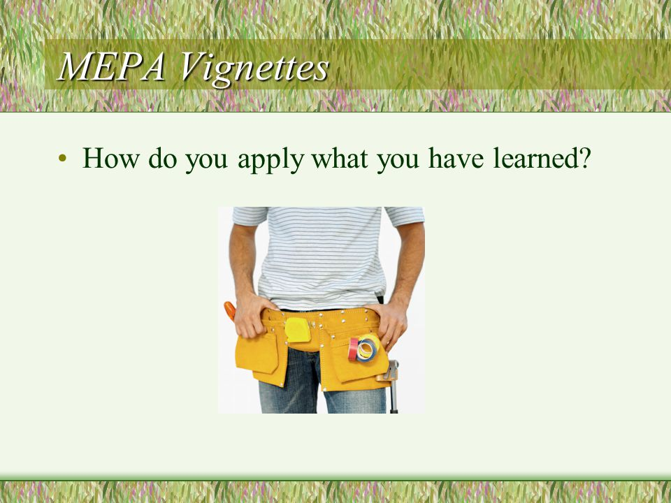 MEPA Vignettes How do you apply what you have learned