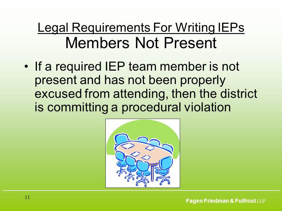 ___________________________________________________________________________________________ Fagen Friedman & Fulfrost LLP 11 Legal Requirements For Wr