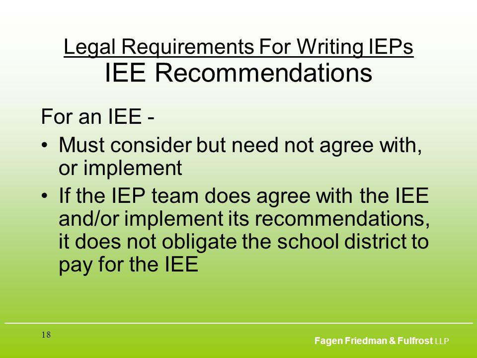 ___________________________________________________________________________________________ Fagen Friedman & Fulfrost LLP 18 Legal Requirements For Wr