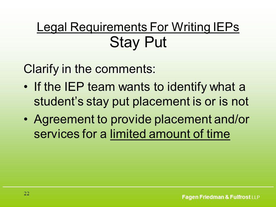 ___________________________________________________________________________________________ Fagen Friedman & Fulfrost LLP 22 Legal Requirements For Wr