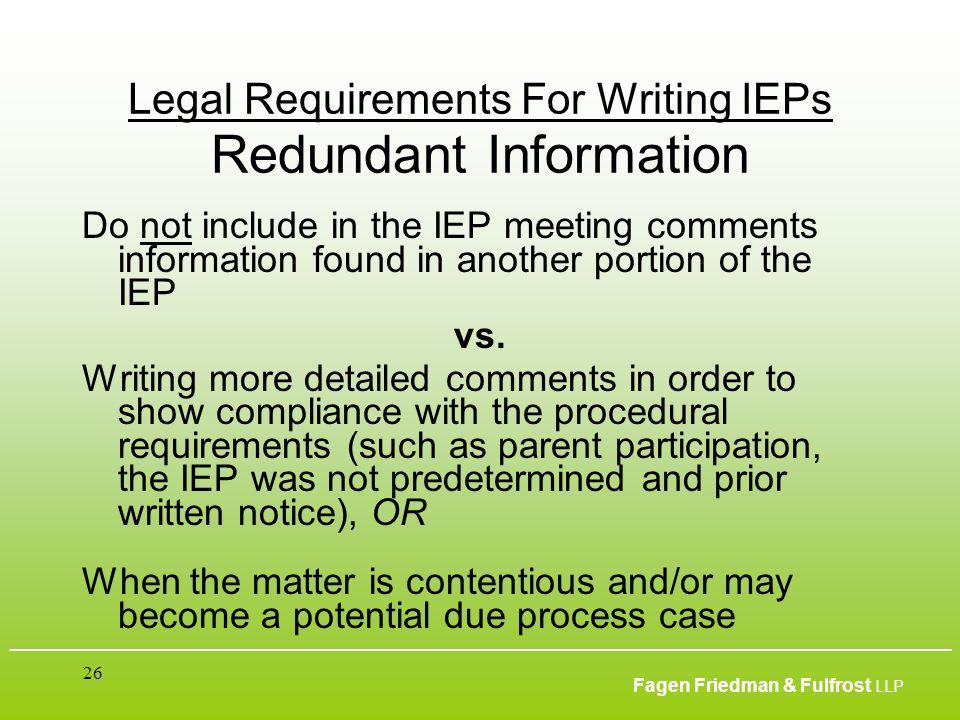 ___________________________________________________________________________________________ Fagen Friedman & Fulfrost LLP 26 Legal Requirements For Wr