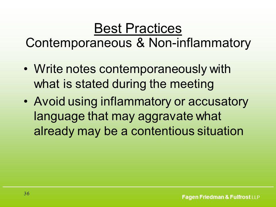___________________________________________________________________________________________ Fagen Friedman & Fulfrost LLP 36 Best Practices Contempora