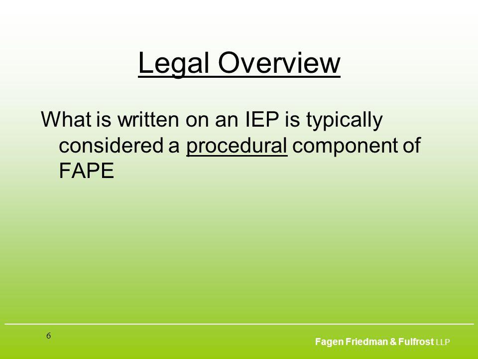 ___________________________________________________________________________________________ Fagen Friedman & Fulfrost LLP 6 Legal Overview What is wri