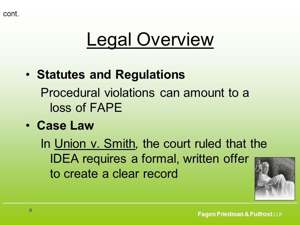___________________________________________________________________________________________ Fagen Friedman & Fulfrost LLP 9 Legal Overview Statutes an