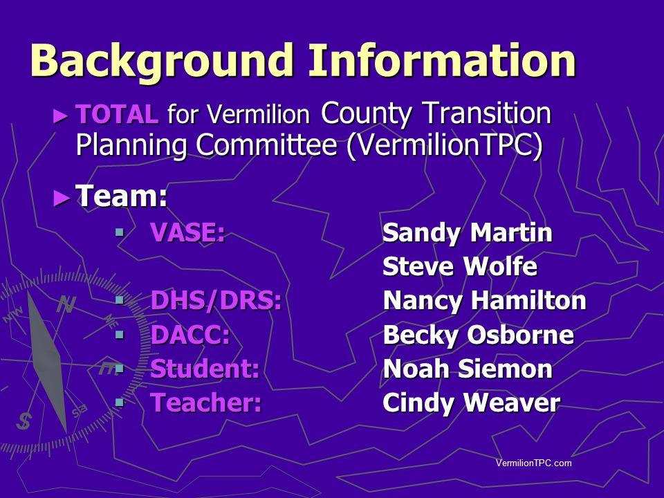 VermilionTPC.com Background Information ► TOTAL for Vermilion County Transition Planning Committee (VermilionTPC) ► Team:  VASE: Sandy Martin Steve W