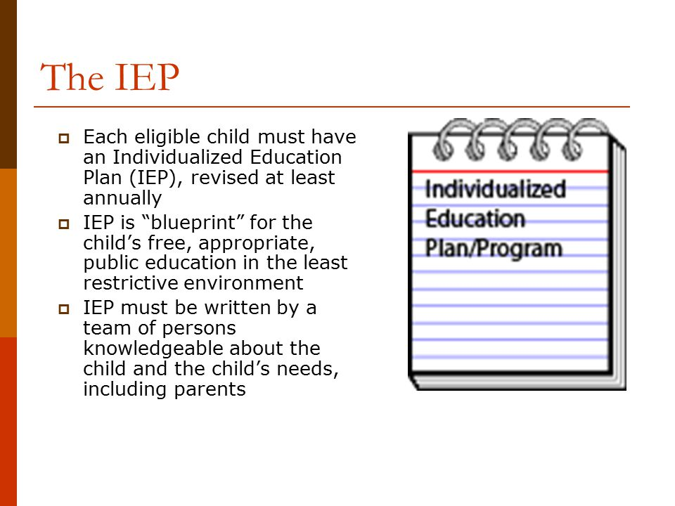 "The IEP  Each eligible child must have an Individualized Education Plan (IEP), revised at least annually  IEP is ""blueprint"" for the child's free, a"