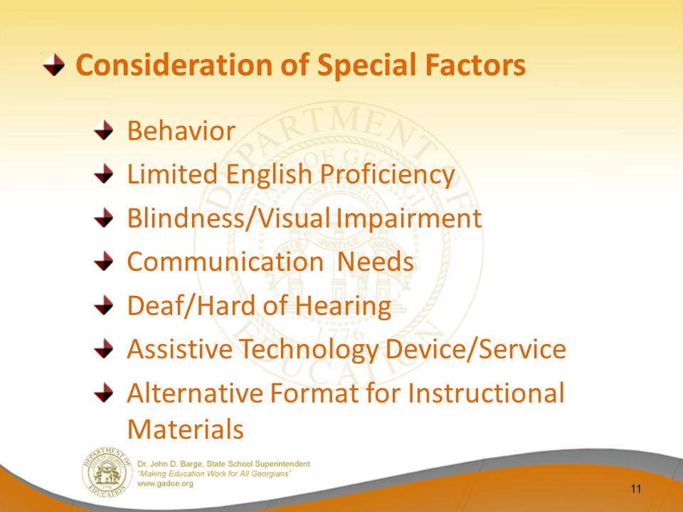 Consideration of Special Factors Behavior Limited English Proficiency Blindness/Visual Impairment Communication Needs Deaf/Hard of Hearing Assistive T