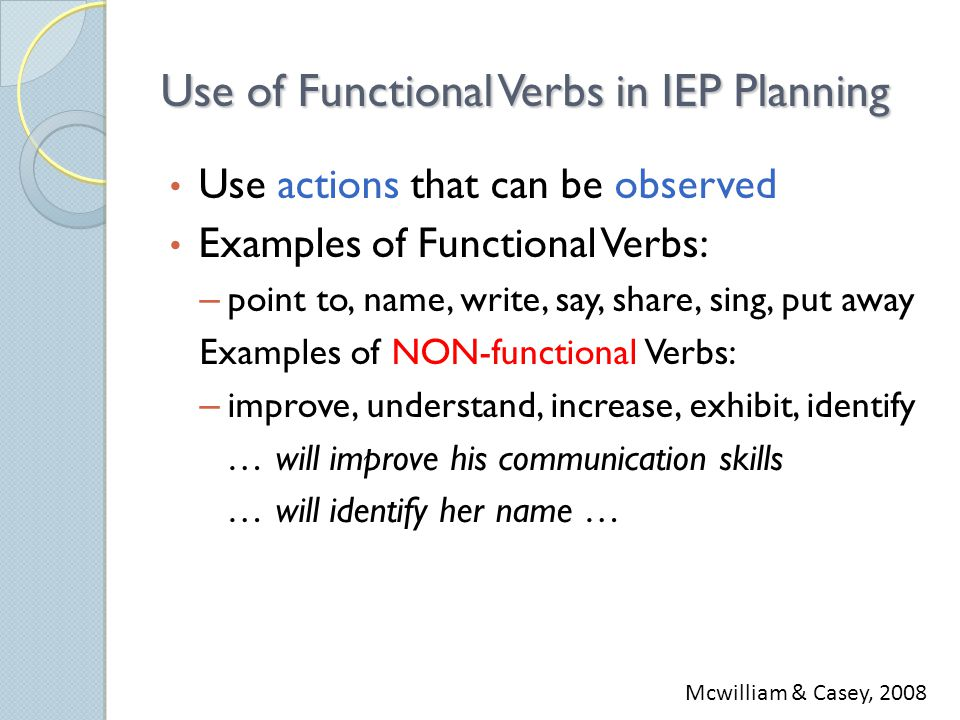 Use of Functional Verbs in IEP Planning Use actions that can be observed Examples of Functional Verbs: – point to, name, write, say, share, sing, put away Examples of NON-functional Verbs: – improve, understand, increase, exhibit, identify … will improve his communication skills … will identify her name … Mcwilliam & Casey, 2008