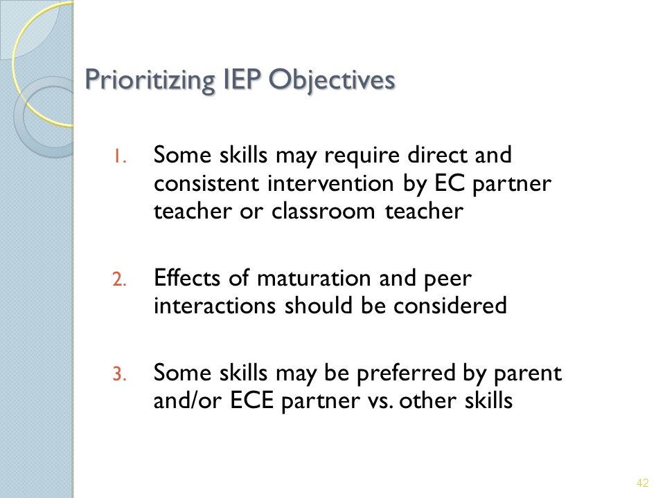 Prioritizing IEP Objectives 1.