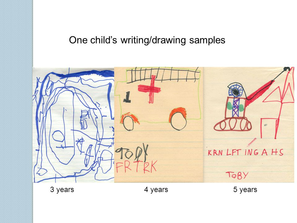 One child's writing/drawing samples 3 years4 years5 years